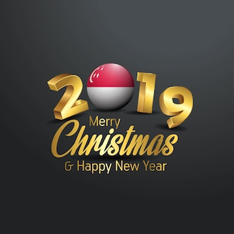 Bandeira de singapura 2019 merry christmas tipografia