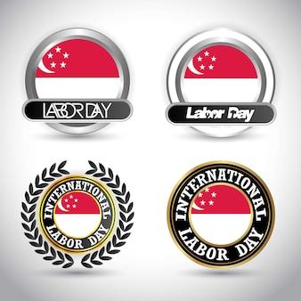 Bandeira de singapura com vetor de design dia do trabalho