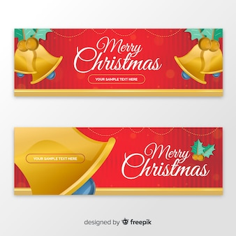 Bandeira de sinos de ouro de natal
