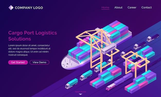Bandeira de soluções de logística para porto de carga