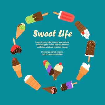 Bandeira de sorvete doce vida