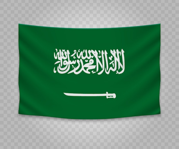 Bandeira de suspensão realista da arábia saudita
