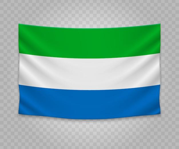 Bandeira de suspensão realista da serra leoa