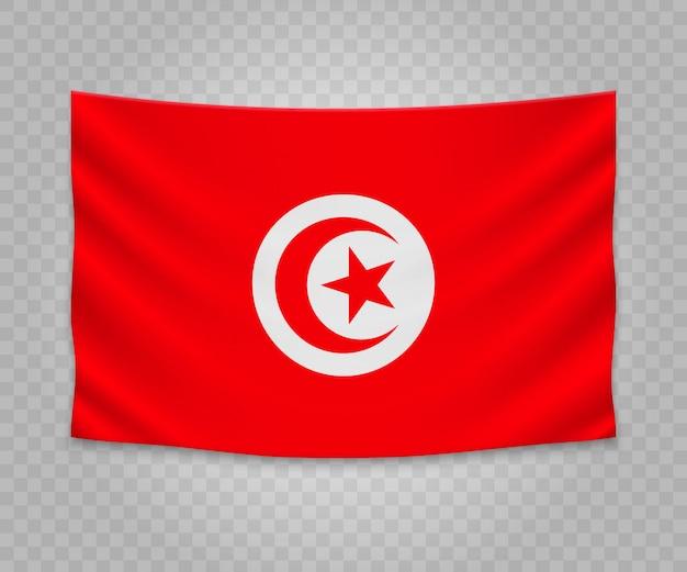 Bandeira de suspensão realista da tunísia