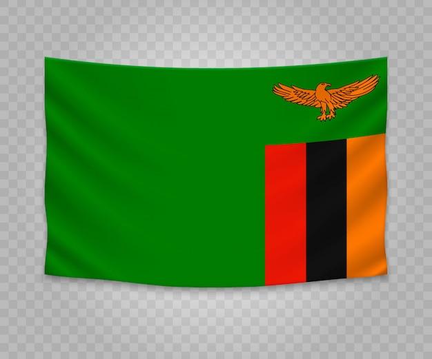 Bandeira de suspensão realista da zâmbia