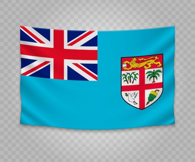 Bandeira de suspensão realista de fiji