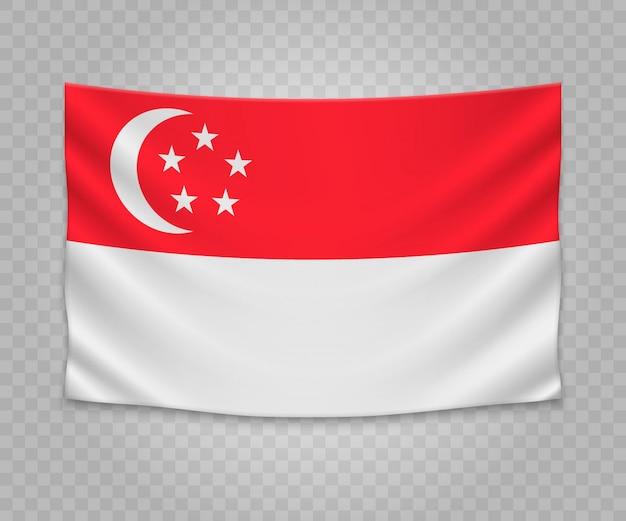 Bandeira de suspensão realista de singapura