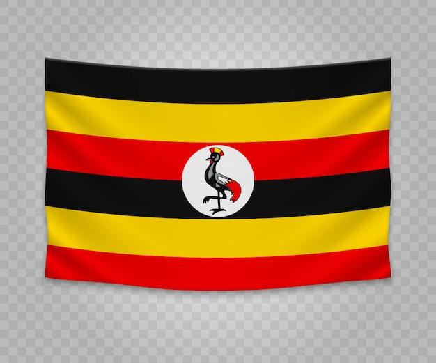 Bandeira de suspensão realista de uganda