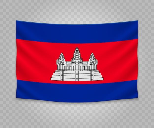 Bandeira de suspensão realista do camboja