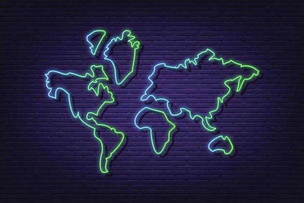 Bandeira de tabuleta de néon de mapa mundo