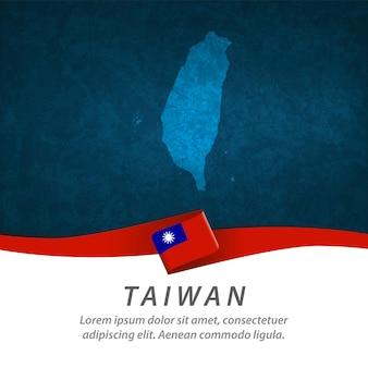 Bandeira de taiwan com mapa central