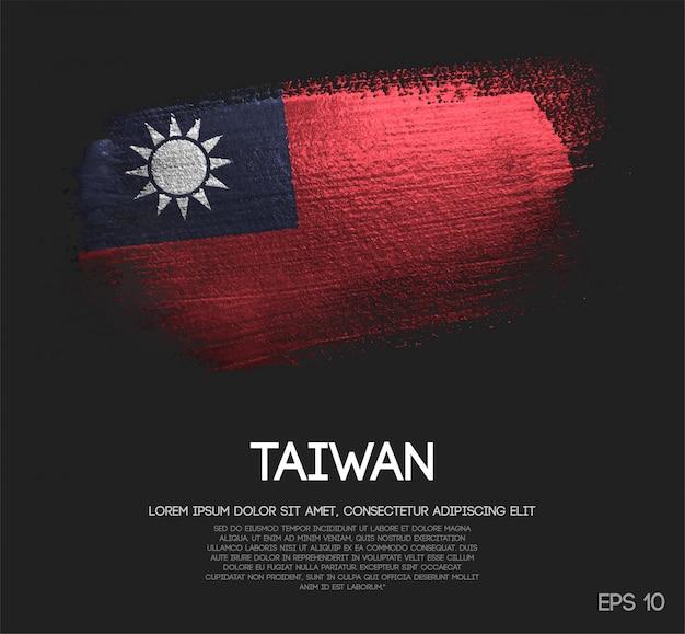 Bandeira de taiwan feita de glitter sparkle brush paint