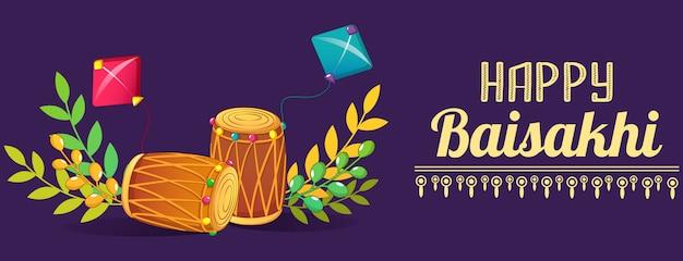 Bandeira de tambores baisakhi feliz