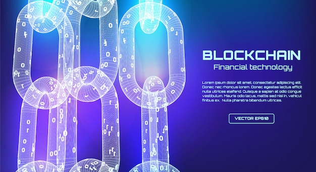 Bandeira de tecnologia de cadeia de bloco. blockchain 3d conceito de estrutura de arame