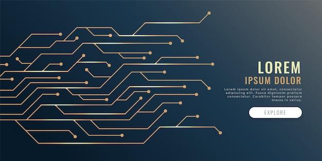 Bandeira de tecnologia de diagrama de linhas de circuito