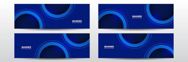 Bandeira de tecnologia futurista moderna. modelo de banner longo do vetor abstrato azul. fundo mínimo de negócios com moldura de círculo de meio-tom. modelo de banner de vetor de tecnologia para mídia social, site.