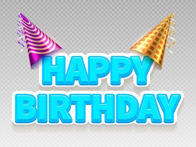 Bandeira de texto de festa de aniversário realista. feliz aniversário e festa