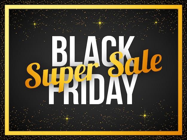 Bandeira de texto de sexta-feira preta super venda