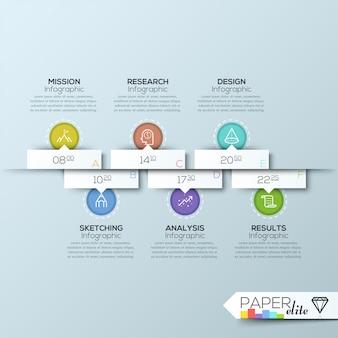 Bandeira de timeline de estilo moderno origami retângulo limpo negócios
