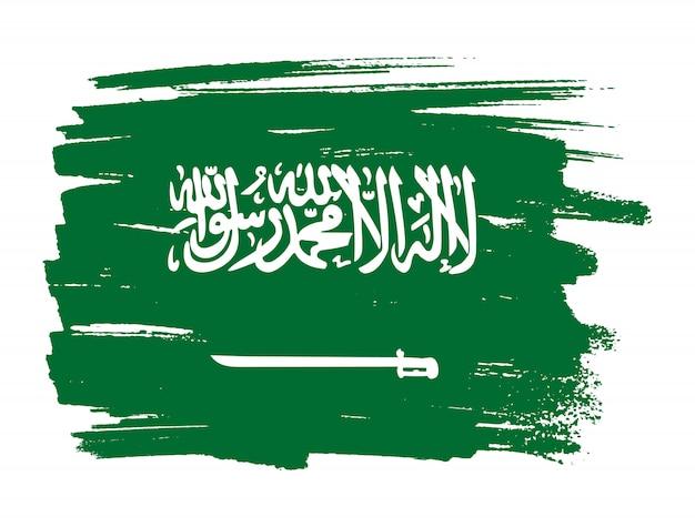 Bandeira de traçado de pincel da arábia saudita