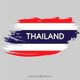 Bandeira de traçado de pincel da tailândia