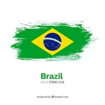 Bandeira de traçado de pincel do brasil
