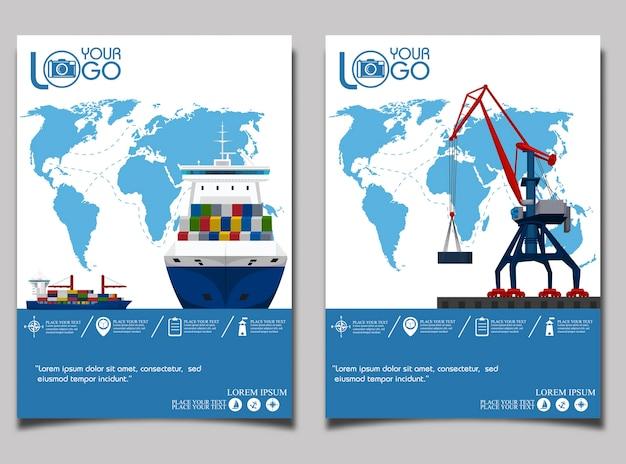 Bandeira de transporte marítimo com guindaste portuário.