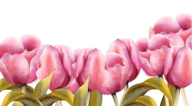 Bandeira de tulipas em aquarela
