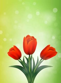Bandeira de tulipas. flores de verão