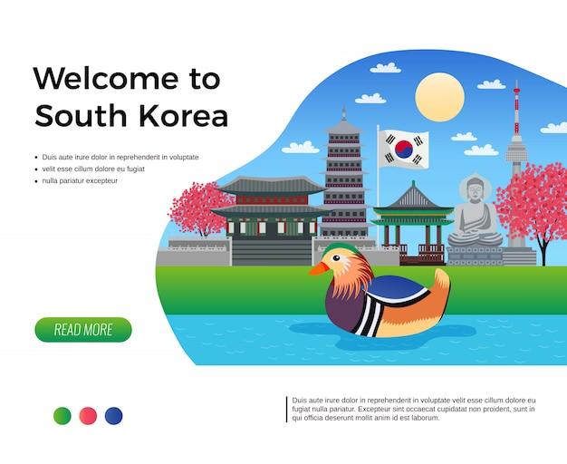 Bandeira de turismo da coreia do sul com clicável, leia mais botão texto editável e composição de ilustração de imagens de doodle