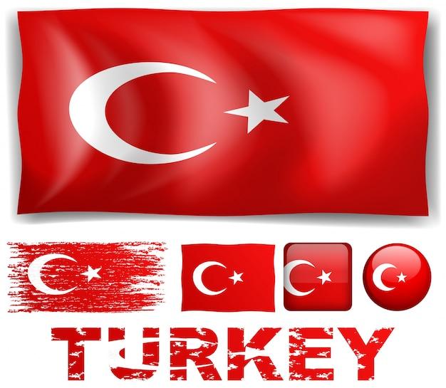 Bandeira de turquia em diferentes desenhos de ilustração