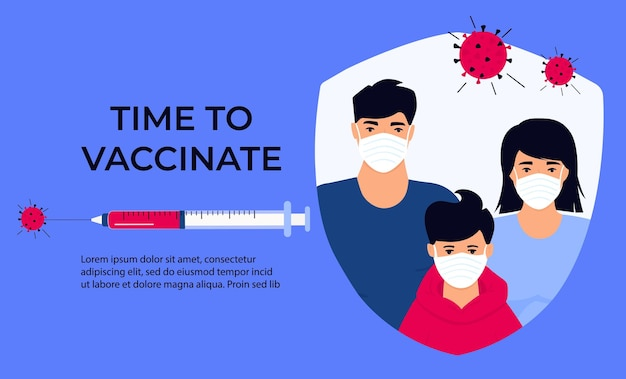 Bandeira de vacinação da família asiática. é hora de vacinar. seringa com vacina para coronavírus covid-19. conceito de campanha de imunização. pai chinês e mãe com filho em máscaras protetoras.