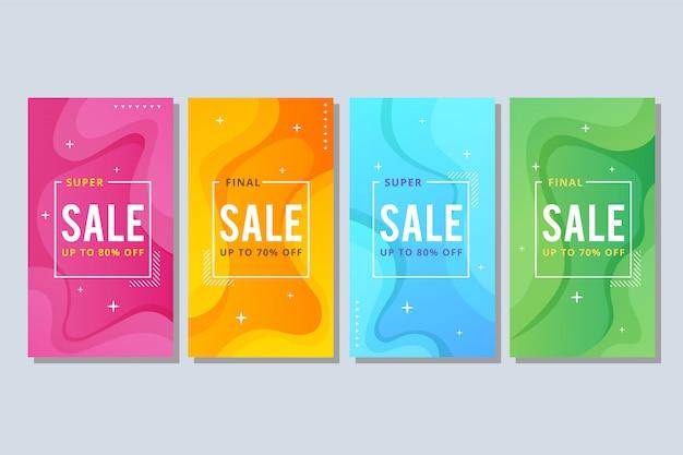 Bandeira de venda abstrata líquida colorida