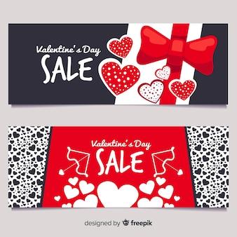 Bandeira de venda de corações plana dos namorados