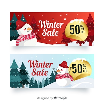 Bandeira de venda de inverno boneco de neve