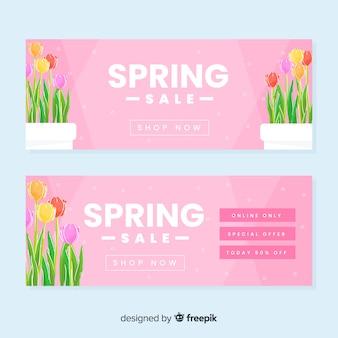 Bandeira de venda de mão desenhada primavera