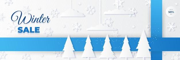 Bandeira de venda de natal de inverno de ícones de ornamento 3d de papel. projeto de fundo de guirlanda de luzes cintilantes, com neve realista, floco de neve azul e confete de glitter.