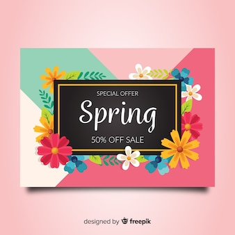 Bandeira de venda de primavera colorida