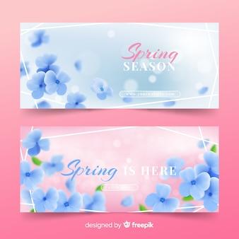 Bandeira de venda de primavera de flor realista