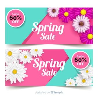 Bandeira de venda de primavera de margaridas realista