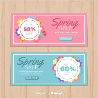 Bandeira de venda de primavera plana