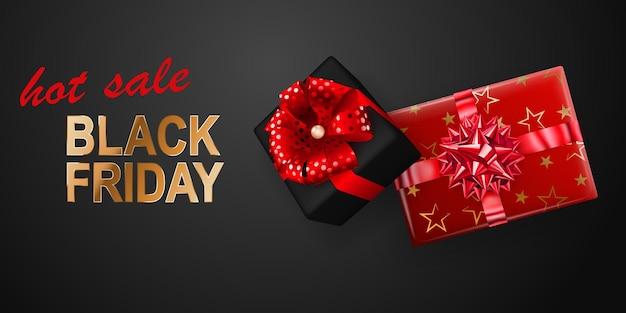 Bandeira de venda de sexta-feira negra. caixa de presente com arco e fitas em fundo escuro. ilustração vetorial para cartazes, folhetos ou cartões.