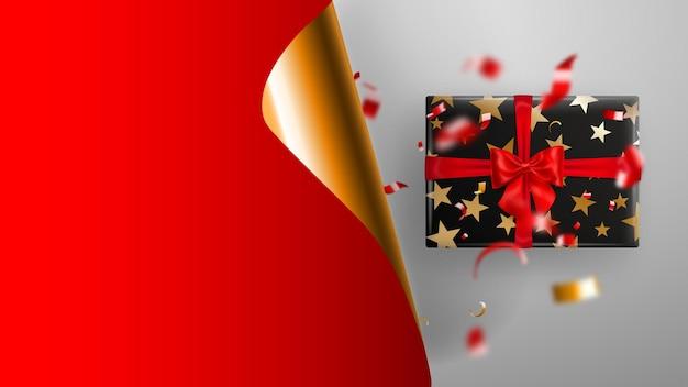 Bandeira de venda de sexta-feira negra. canto de papel ondulado dourado e lugar para inscrição. caixa de presente, pedaços borrados de serpentina em fundo branco de vermelhos e amarelos. ilustração vetorial para cartazes, folhetos, cartões