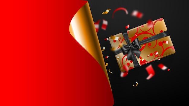 Bandeira de venda de sexta-feira negra. canto de papel ondulado dourado e lugar para inscrição. caixa de presente, pedaços borrados de serpentina em fundo escuro de vermelhos e amarelos. ilustração vetorial para cartazes, folhetos, cartões
