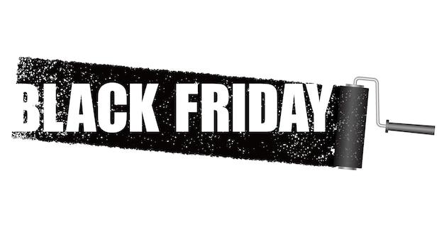 Bandeira de venda de sexta-feira negra com um fundo preto do rolo de pintura.