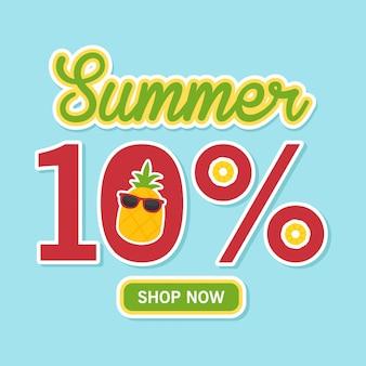 Bandeira de venda de verão. abacaxi fofo com 10% de desconto