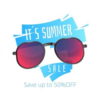 Bandeira de venda de verão de óculos de sol
