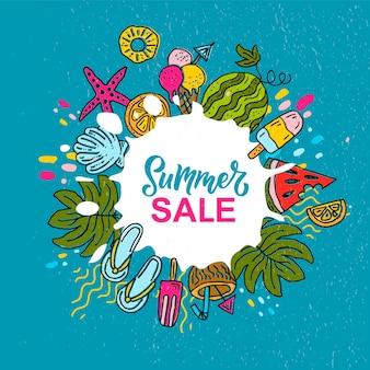 Bandeira de venda de verão esboçada a mão sorvete sol praia mar melancia coquetel conceito logo