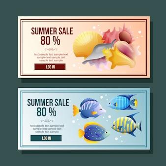 Bandeira de venda de verão peixe decoração ilustração vetorial horizontal