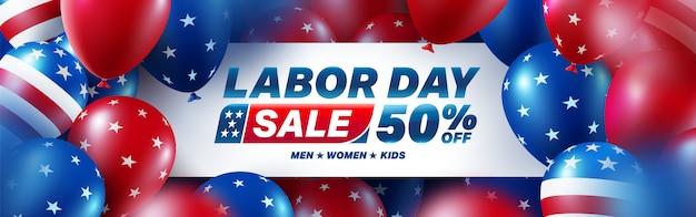 Bandeira de venda do dia do trabalho eua. celebração do dia do trabalho eua com bandeira americana balões. banner de publicidade de promoção de venda